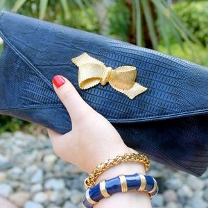 Lilly Pulitzer Navy Blue Bow Tie Clutch